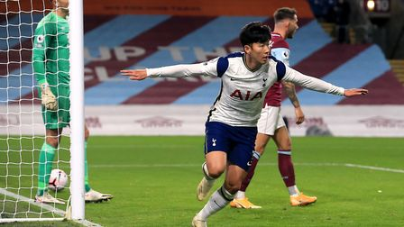 Tottenham Hotspur's Son Heung-min celebrates scoring his side's first goal of the game during the Pr