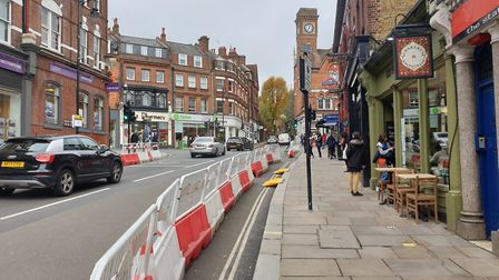 Pavement-widening measures in Hampstead High Streetl. Picture: Harry Taylor