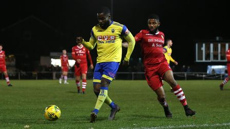David Olufemi of Haringey and Ellis Brown of Hornchurch during Hornchurch vs Haringey Borough, Pitch