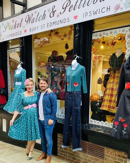 SophiaTaylor-Norris and her husband, whoare the owners of Pocket Watch & Petticoats in Ipswich in the Thoroughfare.