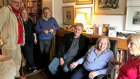 Pauline (second from right) on her 100th birthday with former Camden mayor Richard Cotton (far left)