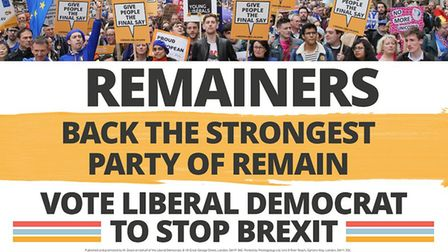 The Liberal Democrats have today unveiled their final campaign poster ahead of polling day. Photo: L