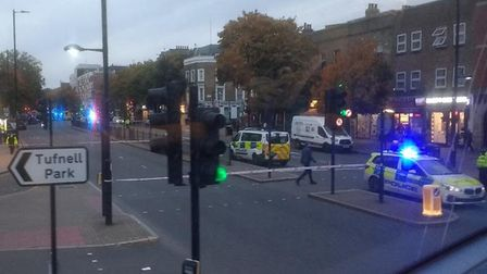 The scene of a crash on Holloway Road. Picture: @TiggerTherese