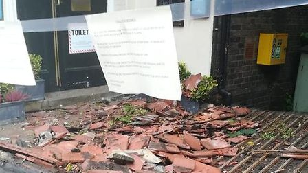 The porch collapsed at the Woodman in Archway Road, Highgate. Picture: The Woodman
