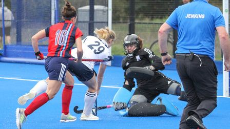 Hampstead's Rochelle Gianfrancesco makes a save (Pic: Mark Clews)