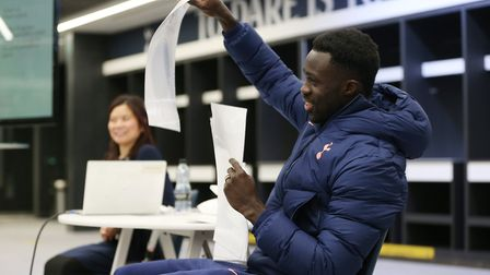 Davinson Sanchez of Tottenham Hotspur attends a Black History Month educational workshop at Tottenh