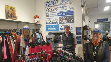 Employees at St Vincent's Charity Shop on Kingsland Road. (From left) Helen Voyce, Martin Wearmouth