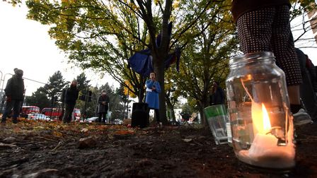 Tree protectors perform a ceremony as they leave the tree camp outside Dixon Clark Court. Picture: P