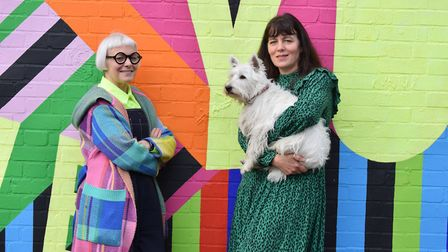 Morag and Ishbel Myerscough with Elvis the Dog taking part in The National Brain Appeal's A Letter i