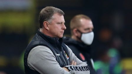 Coventry City manager Mark Robins on the touchline during the Sky Bet Championship match at Vicarage