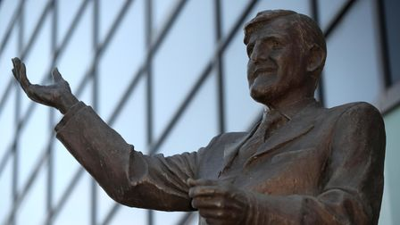 The statue of former Coventry City manager Jimmy Hill outside the Ricoh Arena, Coventry.