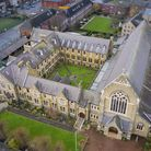 An aerial view of St Antony of Padua church in Forest Gate. Picture: Shea Lolin
