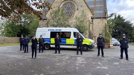 Officers at the private ceremony remembering PC Blakelock. Picture: Met Police
