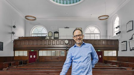 Heritage At Risk 2020: New Unity minister Andy Pakula in the Newington Green church. Picture: Chris