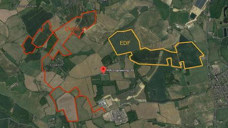 EDF Renewables and Enso Energy are looking at possible solar farms in fields north west of Ipswich