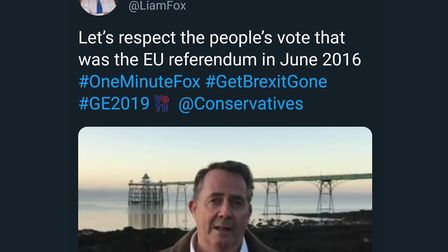 Former international trade secretary Liam Fox delighted remainers by tweeting 'Get Brexit Done'. Pic