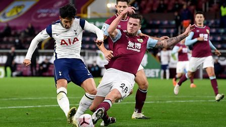 Tottenham Hotspur's Son Heung-min has a shot blocked by Burnley's Kevin Long during the Premier Leag