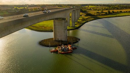 The Red7Marine crew working on the Orwell Bridge clean-up Picture: AERIAL ESSEX