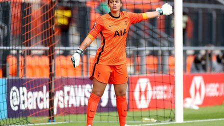 Tottenham Hotspur's goalkeeper Rebecca Spencer gestures on the pitch during the FA Women's Super Lea