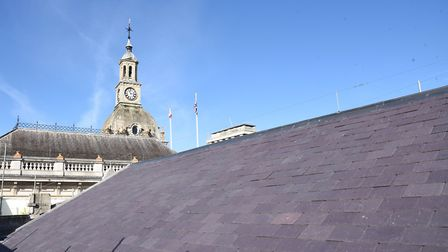 Roof slates on the Old Post Office have been replaced. Picture: CHARLOTTE BOND