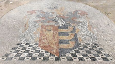 Mosaics on the floor of the Old Post Office show the Ipswich coat of arms Picture: CHARLOTTE BOND