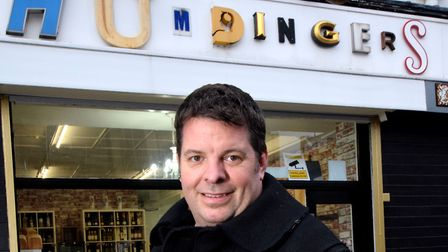 Robert Hunningher outside Humdingers bakery and shop at 238 Hoxton Street