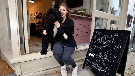 Cookie and Buddy at the Dandie Dog Cafe Heath St NW3