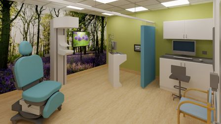 An artist's impression of the mammography room at the new Ipswich Breast Care Centre. Picture: EAST