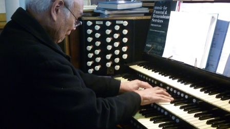 """Gilbert's improvisations on the organ were described as """"out of this world"""". Picture: Fr Ben Kerridg"""
