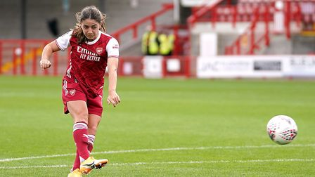 Arsenal's Danielle Van de Donk scores her side's second goal of the game during the FA Women's Super