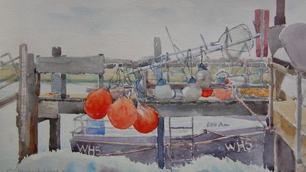 Red Buoys in Southwold by Vanessa Whinney one of the Members of the Highgate Watercolour Group exhib