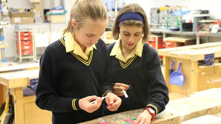 Year 7 pupils from South Hampsteads 3D design club. Picture: South Hampstead High School