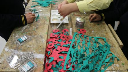 The poppies are made from biodegradable paper embedded with wild flower seeds. Picture: South Hampstead High School