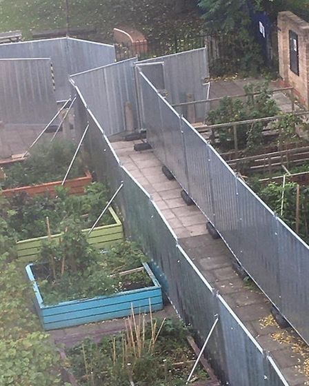 The testing site has cut residents off from a communal allotment used by many who live at Sandford C