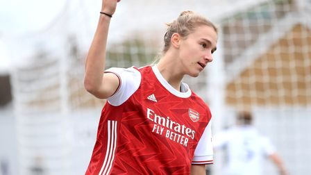 Arsenal's Vivianne Miedema celebrates scoring her side's second goal of the game during the FA Women