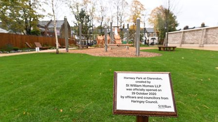 The plaque at Hornsey Park. Picture: Haringey Council