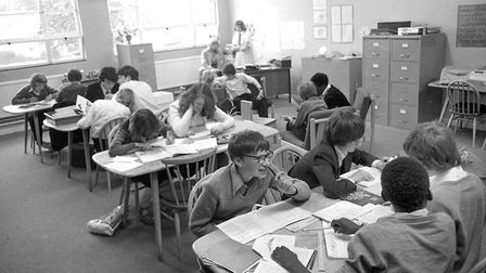A busy classroom at Westbourne School, Ipswich, in 1977. Picture: ARCHANT