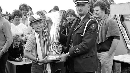 Young Ipswich Town fans got the chance to hold the UEFA Cup at Westbourne School in 1981 Picture: I