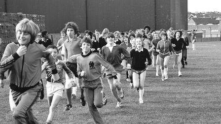 Students from Westbourne School on a sponsored run for charity in 1980 Picture: ARCHANT