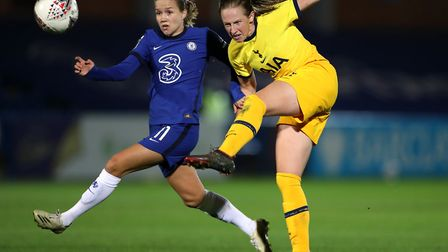 Chelsea's Guro Reiten (left) and Tottenham Hotspur's Kerys Harrop battle for the ball during the FA
