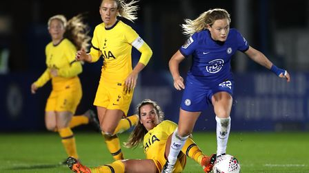Chelsea's Erin Cuthbert (right) and Tottenham Hotspur's Siri Worm battle for the ball during the FA