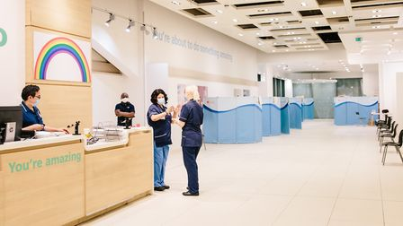 The temporary donor centre in Westfield Stratford City. Picture: NHSBT