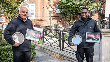 Lat Singh (left) who was nominated Islington's concierge of the year 2020, and Francis Oduro is care