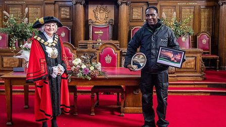 Mayor Cllr Burgess with Francis Oduro, who was selected as Islington's Caretaker of the Year 2020, P