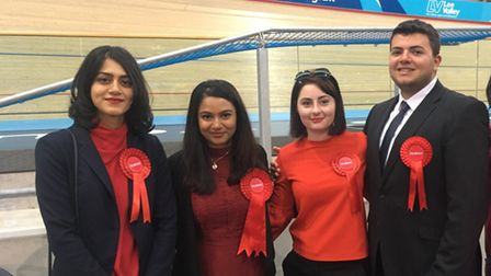 Joshua Garfield with fellow councillors Mariam Dawood, Nilufa Jahan, Genevieve Kitchen and Nareser O