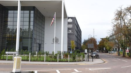 Ipswich crown court with road sign