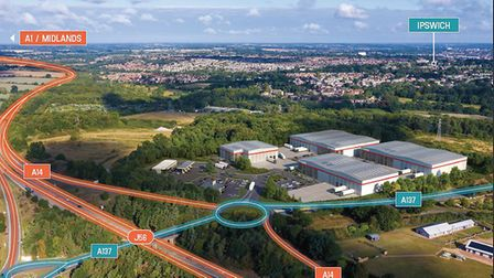 An aerial CGI of Pigeon Investment Management's new logistics and industrial park off the A14 in Ips