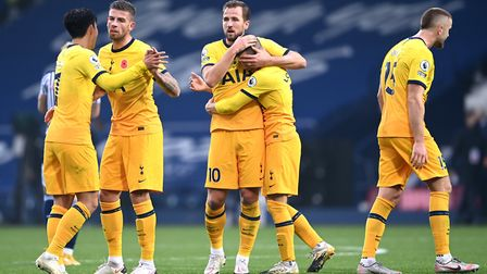 Tottenham Hotspur's Harry Kane celebrates after the Premier League match at The Hawthorns, West Brom
