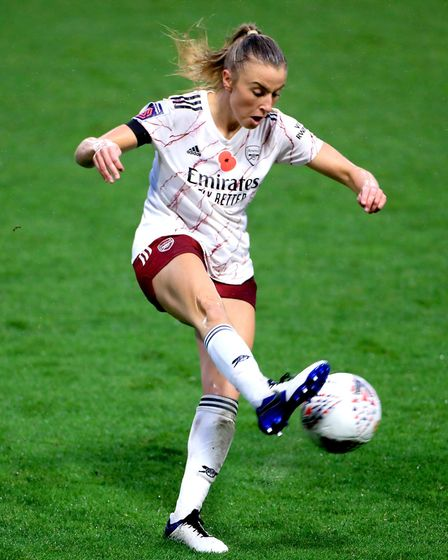 Arsenal's Leah Williamson during the FA Women's Super League match at Leigh Sports Village.
