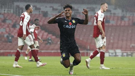 Aston Villa's Ollie Watkins celebrates scoring his side's second goal of the game during the Premier